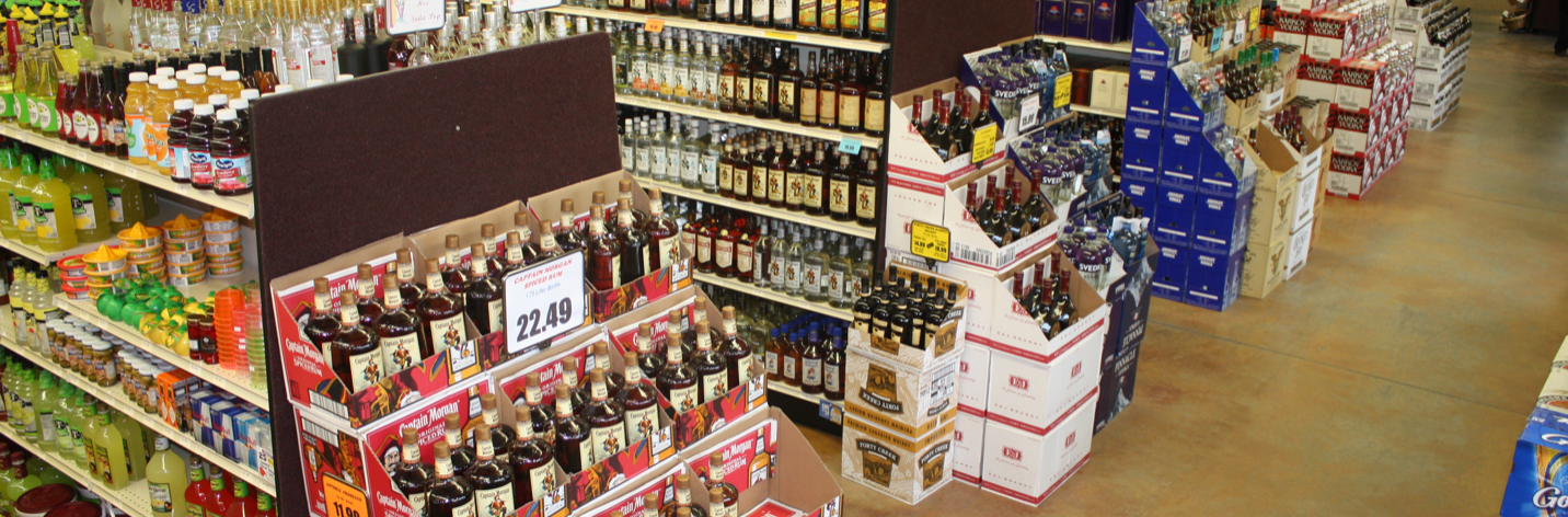 Store Shelves of Alcohol
